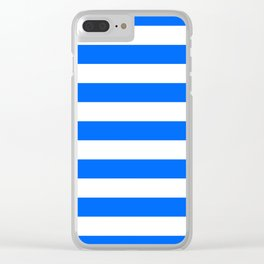 China Blue and White Medium Stripes Clear iPhone Case