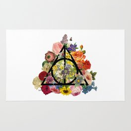 Floral Deathly Hallows - Black Rug