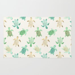 Gilded Jade & Mint Turtles Rug