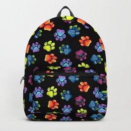 Black Rainbow Paw Print Pattern Backpack