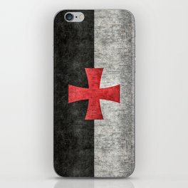 Knights Templar Flag in Super Grunge iPhone Skin