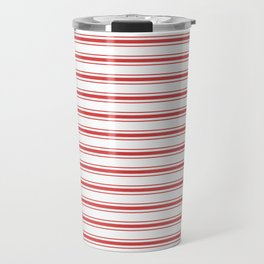 Mattress Ticking Wide Striped Pattern in Red and White Travel Mug