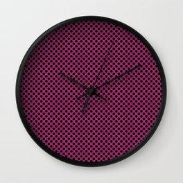 Festival Fuchsia and Black Polka Dots Wall Clock