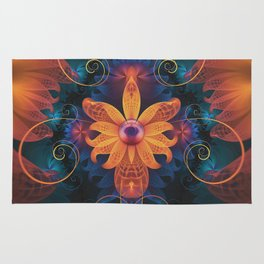 Beautiful Orange-Blue Fractal Angel Orchid Flower Rug