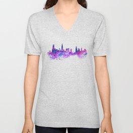 Chicago Watercolor Skyline 2 Unisex V-Neck