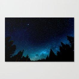 Black Trees Turquoise Milky Way Stars Canvas Print
