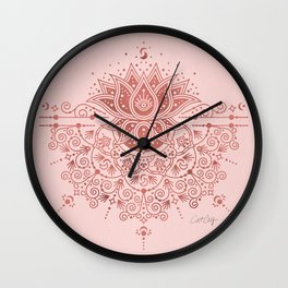 Sacred Lotus Mandala – Rose Gold & Blush Palette Wall Clock