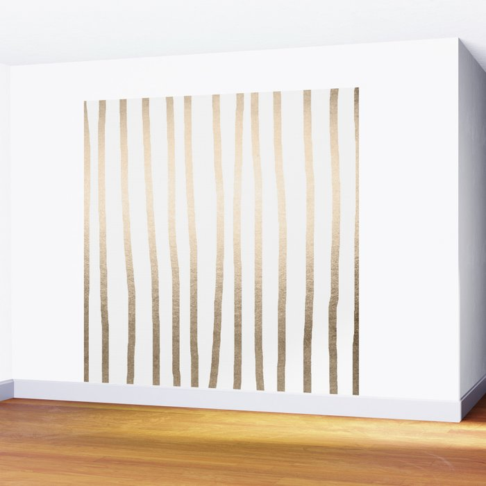 Simply Drawn Vertical Stripes in White Gold Sands Wall Mural