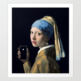 Girl with a pearl earring and an iPhone Art Print