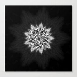 Black Ice Mandala Swirl Canvas Print