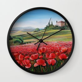 Italian Poppy Field Wall Clock