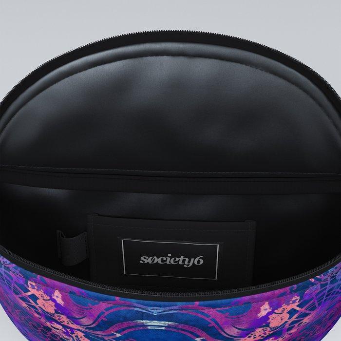 Japanese Stencil Pattern #2 | Flowing Water Waterwheel Basket Weave |Blue & Purple Watercolor Fanny Pack