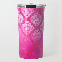 """Magenta Pink Damask Pattern"" Travel Mug"
