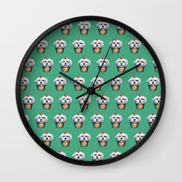 """Cherry on Pup"" Maltese Cake Pattern Green Wall Clock"