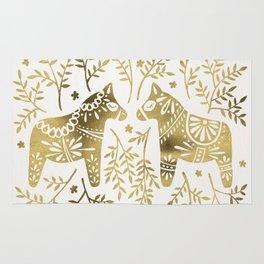 Swedish Dala Horses – Gold Palette Rug