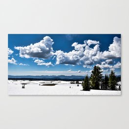 Cloudy Snowy Open Ladscape - Crater Lake National Park, Oregon Canvas Print