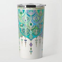 Art Deco Double Drop in Jade and Aquamarine on Cream Travel Mug
