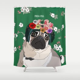 Frida-Pug Shower Curtain