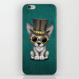 Steampunk Baby Wolf Cub on Blue iPhone Skin