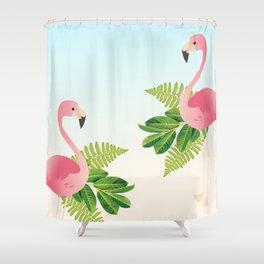 Tropical Flamingos Shower Curtain