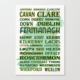 32 Counties Of Ireland Canvas Print