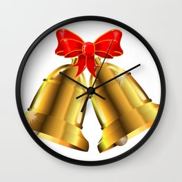Two Christmas Bells Tied With Red Ribbon Wall Clock