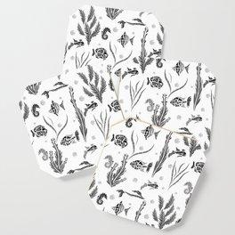 Black and white pattern. Fish . Coaster