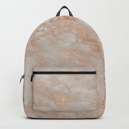Rose Gold Copper Glitter Metal Foil Style Marble Backpack