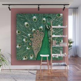 Green & Pink Peacock! Wall Mural