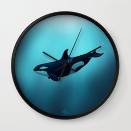 """""""Lost in Serenity"""" by Amber Marine ~ Orca / Killer Whale Art, (Copyright 2015) Wall Clock"""