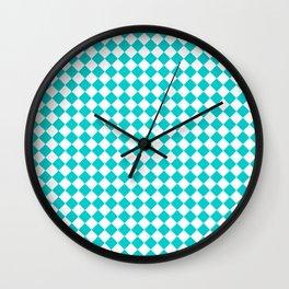 White and Cyan Diamonds Wall Clock