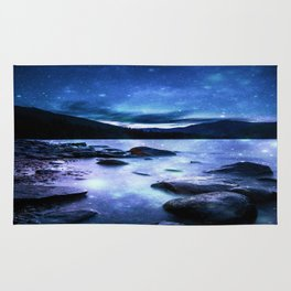 Magical Mountain Lake Blue Rug
