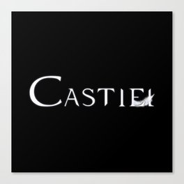 Castiel with Feather White Canvas Print