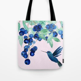 blueberry and humming bird Tote Bag