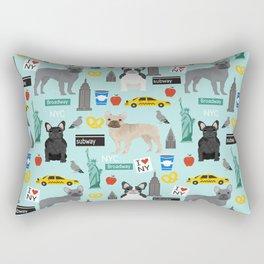 French Bulldog new york city tourist big apple dog breed pet friendly designs Rectangular Pillow