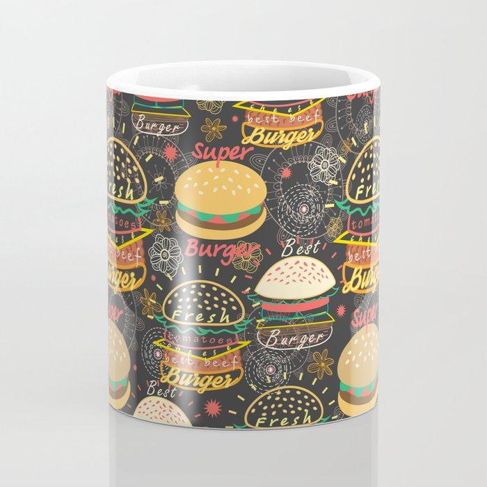 Graphic seamless pattern bright tasty burgers on a dark background Coffee Mug