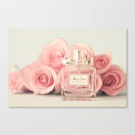 Fashion art, perfume and roses Canvas Print