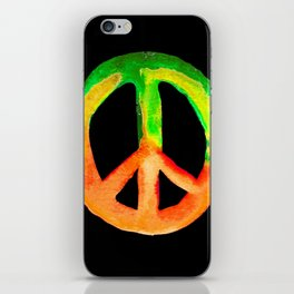 Green Orange Yellow Watercolor Tie Dye Peace Sign iPhone Skin