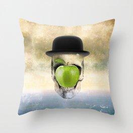 Magritte Skull Throw Pillow