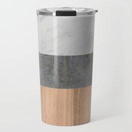 Carrara Marble, Concrete, and Teak Wood Abstract Travel Mug