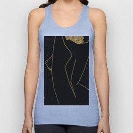 Gold Glitter Nude in One Line Unisex Tank Top