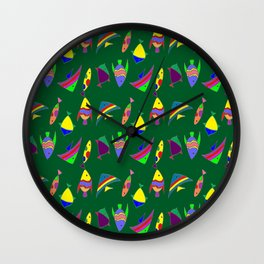 FISHES ON GREEN Wall Clock