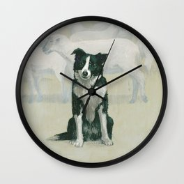 border collie - by phil art guy Wall Clock