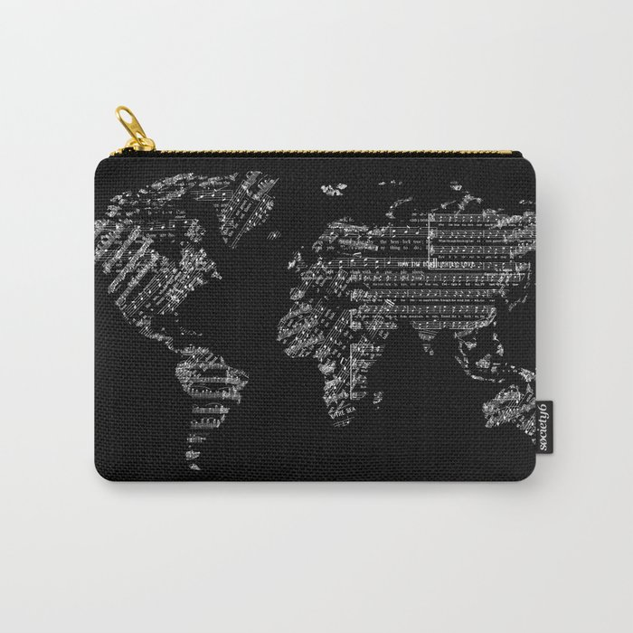 world map music vintage black 1 Carry-All Pouch