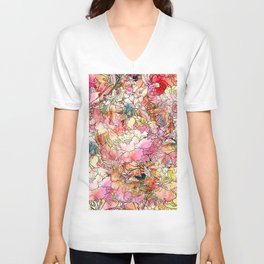 Summer Flowers | Colorful Watercolor Floral Pattern Abstract Sketch Unisex V-Neck