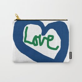 Love Heart Blue Heart Carry-All Pouch
