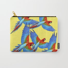 FLOCK OF BLUE MACAWS ON YELLOW Carry-All Pouch