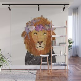 Lion with flowers on head Wall Mural
