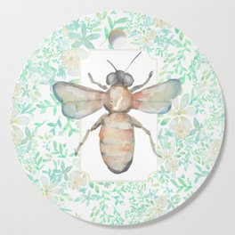 Garden Bee and Blooming Flowers Cutting Board
