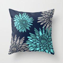 Floral Chrysanthemum Modern Navy Aqua Throw Pillow